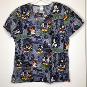 Disney Mickey Mouse Halloween Scrub Top Medium